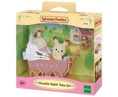 Sylvanian Families - Set gemelos conejos chocolate con cochecito (Epoch 2206)