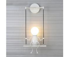 Modern Luz de Pared Lámpara de Pared Creativo Diseño Niños Aplique de Pared Interior Iluminación Metal Infantil Luminaria Iluminación de Pared para Balcón Corredor Dormitorio Decorativa E27 , Blanco-1