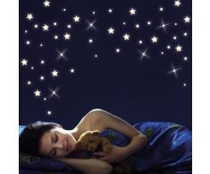 Wandtattoo Loft Pieza 40 brillo de noche Estrellas y Puntos para un bonito cielo estrellado en habitación infantil o Dormitorio (fluorescente)