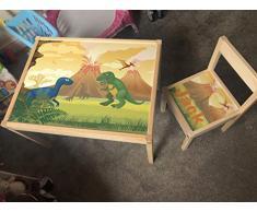 MakeThisMine, Mesa Infantil Personalizada y 1 Silla de Madera con Nombre de Dinosaurio Grabado Dino2 T-Rex Huevo Impreso Juego de Escritorio para niños y niñas Amigos y Familia