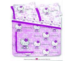 Hello Kitty - Colcha acolchada para cama de matrimonio, diseño de flores, color lila y violeta