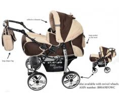 Kamil - Sistema de viaje 3 en 1, silla de paseo, carrito con capazo y silla de coche, RUEDAS ESTÁTICAS y accesorios (Sistema de viaje 3 en 1, marrón, beige)