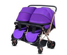 XXW carrito de bebé convertible con manija doble para cochecito de bebé doble puede sentarse en el cochecito de bebé 2 en 1 para carrito de bebé