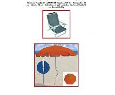 Juego de playa - Holly STABIELO - silla plegable para playa - Colour GRIS - SET de viaje - Paraguas - Holly STABIELO sunny Beach - Camping - Tiempo libre babyundkind - fácil EINDREHBARER sombrilla + de alta protección UV - colour