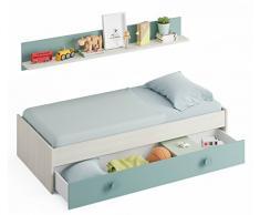 Miroytengo Cama Nido con Estante Color Verde y Blanco para somier 90x190 cm Cama para Dormitorio Infantil o Juvenil Version Mejorada 0J7446Y