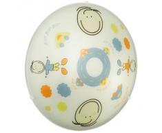 Eglo 88972 Junior 2 - Lámpara de techo infantil (2 casquillos E27, 60 W, 39,5 cm de diámetro, acero, bombillas no incluidas), diseño especial para niños, color blanco y azul