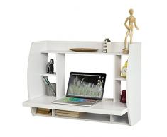SoBuy® Mesa de ordenador armario de pared, Mesa de escritorio de la computadora tabla, blanco, FWT18-W, ES