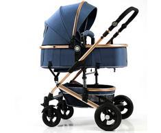 STRR Carrito silleta, Convertible reclinado Cochecito, Plegable y portátil Cochecito de bebé del Carro, 5-Point Arnés y Alta Capacidad Cesta (Color : Blue)