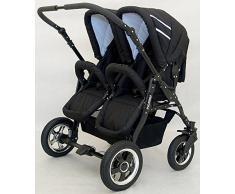 Carro gemelar 2en1. Capazos + sillas + accesorios. Desde nacimiento hasta los 3 años. Freestyle BBtwin duo cochecito doble (negro)