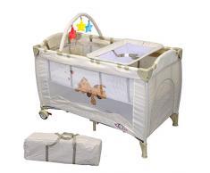 TecTake Cuna infantil de viaje de altura ajustable con acolchado para bebé café - disponible en diferentes colores - (Beige | 400467)