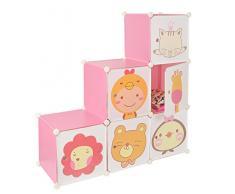 Armario estantería para la ropa, perchero para el pasillo, para niños, Ropero Aparador Estante en rosa con motivos de animales