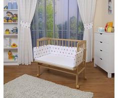 WALDIN Cuna colecho para bebé, cuna para bebé, con protector y colchón, natural sin tratamiento,color textil blanco/estrellas gris-rosa