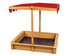 TecTake Arenero con techo regulable cajón de arena jardín juego para niños madera rojo