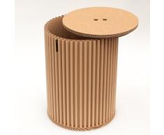 Taburete de cArtù: este innovador taburete con almacenaje o mesitas de noche, mesitas de noche, es elegante y ecológico. Está hecho de cArtù, un tipo nuevo de cartón ondulado con un diseño único. Viene preparado para montarlo