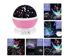 Lámpara de Noche,Sunvito Romántica Rotación de Estrellas Luna Cielo Proyector a Bebés Niños Dormitorios(4 Gotas Brillantes LED 3 Modelo de Luz Cargadas por Patería de DC5V/AAA y USB Cable) (Rosado)