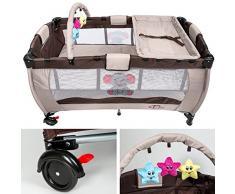 TecTake Cuna infantil de viaje portátil altura ajustable con acolchado para bebé marrón café
