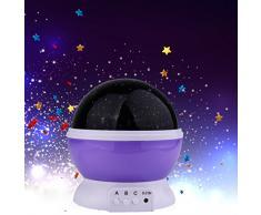 Sunvtio Estrellas Proyector de Luz, Lámpara de Proyección de 3 Modos Rotación Luz Noche, Romántica Lámpara Emocional Cálido y Encantador Dormir Luz Nocturna para Los Niños, Los Amantes, Regalo de Navidad, Los Miños Dormitorio (Púrpura)