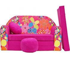 Sofá-cama infantil con reposapies, reposabrazos y almohada gratis (H12)