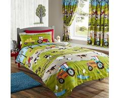 Juego de cama infantil con funda de edredón nórdico, diseño de granja, poliéster, verde, suelto