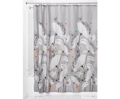 InterDesign Alice Cortina de baño   Cortina para bañera o plato de ducha, 183 x 183 cm   Preciosa cortina de ducha con estampado floral y mariposas  Poliéster gris/pastel