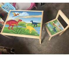 MakeThisMine, Mesa Infantil Personalizada y 1 Silla de Madera con Nombre de Dinosaurio Grabado Dino1 T-Rex Huevo Impreso Juego de Escritorio para niños y niñas, Amigos, Familia