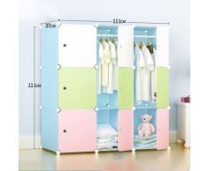 armario del dormitorio de los niños montaje sencillo de color gabinetes de almacenamiento combinación armario resina DIY sola plegado armario ropero