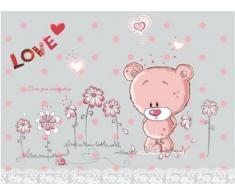 Walplus - Adhesivos decorativos para la pared (50 x 70 cm), diseño de oso de peluche con flores, color rosa