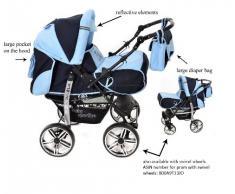 Baby Sportive - Sistema de viaje 3 en 1, silla de paseo, carrito con capazo y silla de coche, RUEDAS ESTÁTICAS y accesorios, color negro, azul celeste
