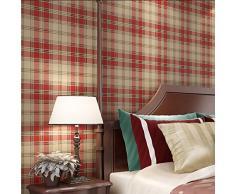 Habitación verde wallpaper completo tiendas aire británico clásico tejido de cuadros papel papel pintado salón dormitorio infantil , dark red