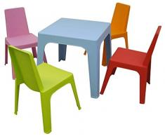 Resol Julieta Set Infantil de 4 Sillas y 1 Mesa, Plástico y Polipropileno, 1 Mesa Azul + 4 Sillas Roja/Rosa/Naranja/Lima, 60x51x78 cm, 5 Unidades