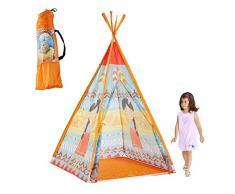 ZSLGOGO Teepee Carpa para niños para Juegos en Interiores y Exteriores, Kids Play Tent & Playhouse para niños y niñas, portátil y Plegable, Estilo Indio