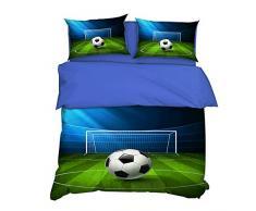 AYMAYO - Juego de ropa de cama infantil (135 x 200 cm), diseño de fútbol, para niños, hombres y jóvenes, Verde., 135 x 200 cm