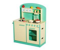 HOMCOM Cocinita de Juguete de Madera con 12 Accesorios 70x30x88cm para Niños + 3 Años Color Verde