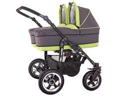 Carro gemelar 2en1. Capazos + sillas + accesorios. Desde nacimiento hasta los 3 años. Freestyle BBtwin duo cochecito doble (szary + zielony)