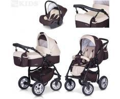 PREMIUM 3 en 1 Carrito PASSO convertible con capazo, saco para las piernas, bolsa para pañales, capota y silla de coche (grupo 0+) / 6 diseños de color disponibles, Color:F2 - chocolate