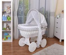 WALDIN Cuna Moisés, carretilla portabebés XXL, 44 colores a elegir,Madera/ruedas lacado en blanco,color textil blanco/estrellas-blanco