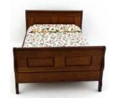 Melody Jane Casa de Muñecas Roble Oscuro Doble Cama Miniatura 1:12 Madera Dormitorio Muebles