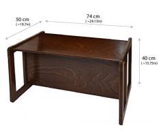 3 en 1 Muebles Para Niños Conjunto de 3 Dos Pequeñas Mesas Sillas y Una Mesa Banco Grande Hechan de Madera de Haya Oscura