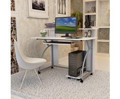 Songmics Escritorio de la Computadora Blanco Mesa de Ordenador con Portateclado Moderna Escritorio Compacto para Hogar o Oficina 120 x 59 x 90 cm LCD812W