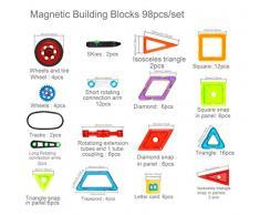 Supremery bloques de construcción Bloques de construcción magnética conjunto de juguete | Deje que su hijo por los colores y formas de aprendizaje | regalo creativo y educativo para niños mayores de 3 años (98 partes)