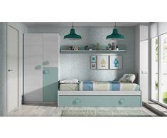 Habitdesign 0J7447K - Cama nido juvenil 2 camas + estante acabado Blanco Line y Acqua, medidas 201x43x98 cm de fondo