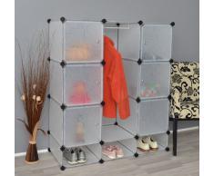 TS Ideen 5140 Gabinete Armario completo con zapatero, Baño gabinete, gabinete de dormitorio, 9 compartimentos, Escudo Barra
