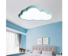 Regulable Lámpara De Techo Forma de Nube LED Ultraslim Luz De Techo con Control Remoto para Dormitorio Cocina Oficina,Blue,L60cm