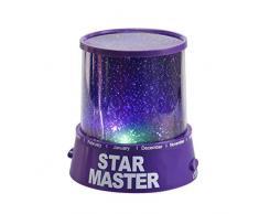 Bluestercool luz del proyector de la estrella romántica Cosmos Luna del cielo de la lámpara de proyección de luz nocturna dormitorio para niños, bebés, regalos de la Navidad, los amantes (Púrpura)