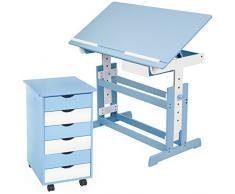 TecTake Escritorio infantil reguable en altura + cómoda con ruedas para niños - disponible en diferentes colores - (Azul | No. 401241)