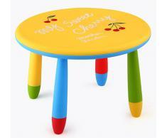 Mesa infantil redonda de plástico, Desmontable, para niños, Amarilla