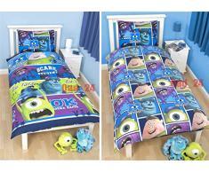 DISNEY MONSTERS INC UNIVERSITY REVERSIBLE cama individual para niños juego de colcha