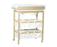 Combinacion bañera cambiador roba Baby Pool, bañera con cambiador encima plegable, en madera natural, colchoneta del cambiador en blanco