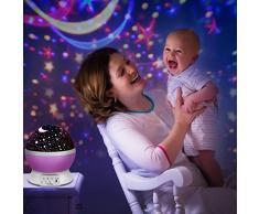 Proyector lámpara estrellas,UBEGOOD Estrella Luz Noche 360 Grados Rotación Lámpara Noche 4 Modo de Luz para Niños Iluminación Romántica Cosmos Proyección Luz Nocturna Bebés Regalos la Navidad-Púrpura