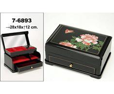 DonRegaloWeb - Joyero rectangular lacado con música decorado con flores en color negro y otros.
